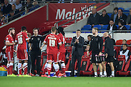 Cardiff city manager Ole Gunnar Solksjaer &copy; tries to lift his players during a break in play.  Skybet football league championship match, Cardiff city v Middlesbrough at the Cardiff city stadium in Cardiff, South Wales on Tuesday 16th Sept 2014<br /> pic by Andrew Orchard, Andrew Orchard sports photography.
