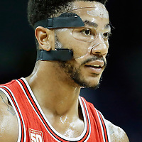 03 November 2015: Chicago Bulls guard Derrick Rose (1) rests during the Charlotte Hornets  130-105 victory over the Chicago Bulls, at the Time Warner Cable Arena, in Charlotte, North Carolina, USA.