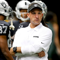 Aug 16, 2013; New Orleans, LA, USA; Oakland Raiders head coach Dennis Allen before a preseason game against the New Orleans Saints at the Mercedes-Benz Superdome. Mandatory Credit: Derick E. Hingle-USA TODAY Sports