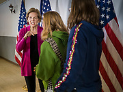 16 DECEMBER 2019 - KEOKUK, IOWA: US Senator ELIZABETH WARREN (D-MA) talks to girls during a campaign event in Keokuk, IA, Monday. About 100 people attended the town hall. Warren is campaigning in southeastern Iowa this weekend to support her effort to be the Democratic nominee for the US presidential race in 2020. This was Warren's 185th town hall, and 88th event in Iowa. Iowa traditionally hosts the first presidential selection event of the campaign season. The Iowa caucuses are Feb. 3, 2020.       PHOTO BY JACK KURTZ