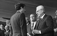 Roma 1986.Festa della Polizia.Francesco Cossiga, Presidente della Repubblica Italiana con Vincenzo Parisi Capo della Polizia,conferisce una medaglia al valore ad un agente di polizia
