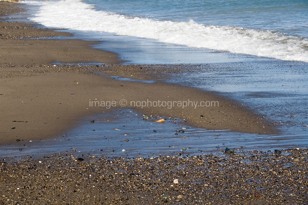 Waves on Killiney Beach in Dublin Ireland in the winter
