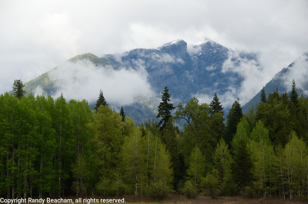 Bull River Valley and the Cabinet Mountains with rainstorm clearing in spring. Northwest Montana.