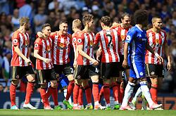 Sunderland's Javier Manquillo celebrates scoring the opening goal during the Premier League match at Stamford Bridge, London.