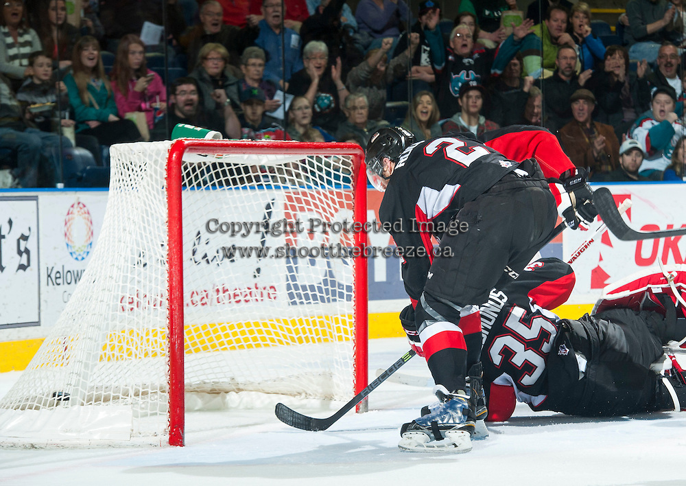 KELOWNA, CANADA - FEBRUARY 9: Ty Edmonds #35 of Prince George Cougars misses a save against the Kelowna Rockets on February 9, 2015 at Prospera Place in Kelowna, British Columbia, Canada.  (Photo by Marissa Baecker/Shoot the Breeze)  *** Local Caption *** Ty Edmonds;