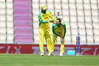 Cricket - 2019 ICC Cricket World Cup warm ups - Australia vs. Sri Lanka<br /> <br /> Glenn Maxwell comforts Steve Smith of Australia after he failed to catch a low ball whilst bowling only to take a hit to the groin during the cricket world cup warm up match at the Hampshire Bowl Southampton England<br /> <br /> COLORSPORT/SHAUN BOGGUST