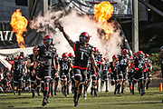 CINCINNATI, OH - OCTOBER 06: Kahlil Lewis #1 of the Cincinnati Bearcats leads team members out on the field before the game against the Tulane Green Wave at Nippert Stadium on October 6, 2018 in Cincinnati, Ohio. (Photo by Michael Hickey/Getty Images) *** Local Caption *** Kahlil Lewis