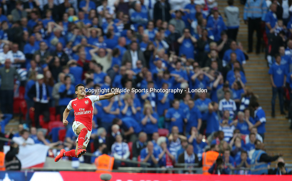 18 April 2015  FA Cup semi-final - Arsenal v Reading;  Alexis Sanchez celebrates after scoring the second goal for Arsenal.<br /> Photo: Mark Leech