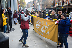 London, UK. 31 October, 2019. Low-paid and predominantly migrant cleaners who work in offices housing ITV and Channel 4 in Gray's Inn Road outsourced via City & Essex and belonging to the United Voices of the World (UVW) trade union take part in a coordinated series of 'five strikes in one day' involving also cleaners from the Ministry of Justice, University of Greenwich café workers, cleaners, porters and caterers from St Mary's Hospital Paddington and park attendants from the Royal Parks. The City & Essex cleaners are seeking full sick pay and more annual leave.