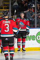 KELOWNA, BC - SEPTEMBER 28:  Kyle Topping #24 of the Kelowna Rockets watches the replay after scoring a goal against the Everett Silvertips at Prospera Place on September 28, 2019 in Kelowna, Canada. (Photo by Marissa Baecker/Shoot the Breeze)