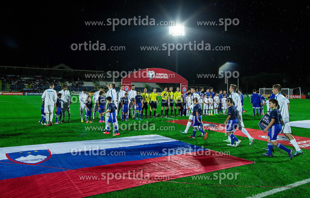 Teams of Slovenia and San Marino prior to the football match between National teams of San Marino and Slovenia in Group E of EURO 2016 Qualifications, on October 12, 2015 in Stadio Olimpico Serravalle, Republic of San Marino. Photo by Vid Ponikvar / Sportida
