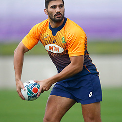 TOKYO, JAPAN - OCTOBER 15: Damian de Allende  during the South African national rugby team training session at Fuchu Asahi Football Park on October 15, 2019 in Tokyo, Japan. (Photo by Steve Haag/Gallo Images)