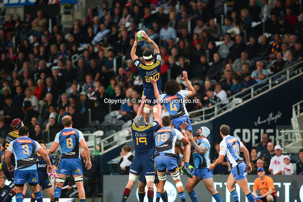 Highlander Elliot Dixon claims the ball during the Round 5 Super Rugby match between Otago Highlanders and Western Force at Forsyth Barr Stadium, Dunedin. 15 March 2014. Photo: Derek Morrison/www.photosport.co.nz