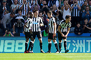 Newcastle United forward Joselu (#21) celebrates Newcastle United's first goal (1-0) during the Premier League match between Newcastle United and West Ham United at St. James's Park, Newcastle, England on 26 August 2017. Photo by Craig Doyle.