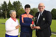 Michael Heeney Connacht Golf presents Lucas Lyons (Limerick) winner of the Connacht U14 Boys Amateur Open, Ballinasloe Golf Club, Ballinasloe, Galway,  Ireland. 10/07/2019<br /> Picture: Golffile   Fran Caffrey<br /> <br /> <br /> All photo usage must carry mandatory copyright credit (© Golffile   Fran Caffrey)