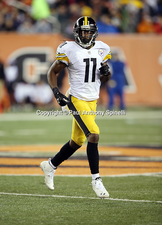Pittsburgh Steelers wide receiver Markus Wheaton (11) goes in motion during the NFL AFC Wild Card playoff football game against the Cincinnati Bengals on Saturday, Jan. 9, 2016 in Cincinnati. The Steelers won the game 18-16. (©Paul Anthony Spinelli)