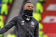 Boli Bolingoli of Celtic FC in high spirits during the warm up ahead of the Betfred Scottish League Cup Final match between Rangers and Celtic at Hampden Park, Glasgow, United Kingdom on 8 December 2019.