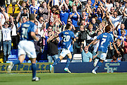 Jon Toral celebrates his goal with the fans during the Sky Bet Championship match between Birmingham City and Reading at St Andrews, Birmingham, England on 8 August 2015. Photo by Alan Franklin.