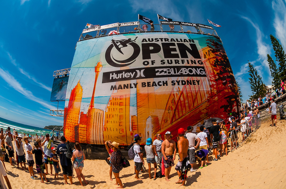 The beach bowl, venue for professional skateboarding competitions during the Australian Open of Surfing at Manly Beach, Sydney, New South Wales, Australia.