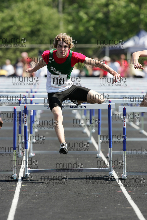 Hamilton, Ontario ---06/06/08--- Mike Lopatowski of Mother Teresa in London competes in the sprint hurdles at the 2008 OFSAA Track and Field meet in Hamilton, Ontario..