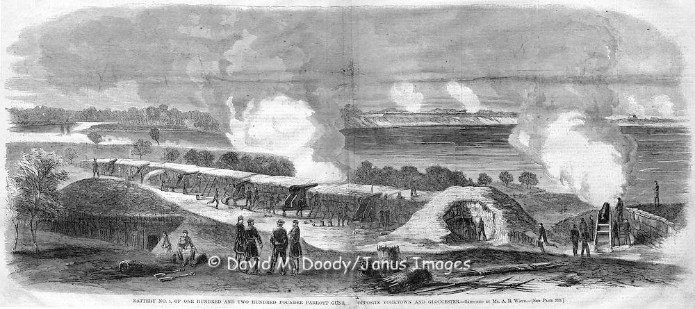 Battery No. 1 with Parrott guns at Gloucester Point across the river from  Yorktown, Virginia.  Civil War, 1862