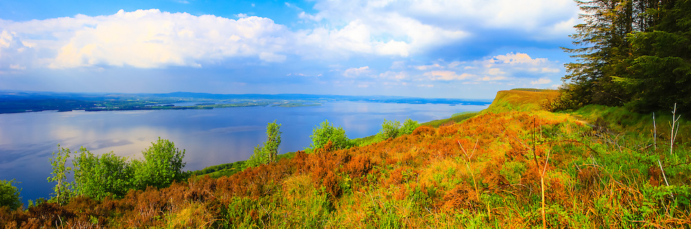 View overlooking Lower Lough Erne from Magho viewpoint in Lough Navar Forest Park towards Boa Island and Castle Archdale Forest