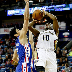Dec 8, 2016; New Orleans, LA, USA; \New Orleans Pelicans guard Langston Galloway (10) shoots over Philadelphia 76ers forward Ersan Ilyasova (7) during the second half of a game at the Smoothie King Center.  The 76ers defeated the Pelicans 99-88. Mandatory Credit: Derick E. Hingle-USA TODAY Sports