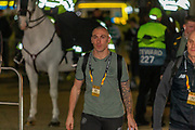 Scott Brown (C) (#8) arrives at Parkhead ahead of the Europa League match between Celtic and FC Copenhagen at Celtic Park, Glasgow, Scotland on 27 February 2020.