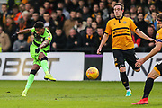 Forest Green Rovers Reece Brown(10) shoots at goal saved by Newport County goalkeeper Joe Day(1) during the EFL Sky Bet League 2 match between Newport County and Forest Green Rovers at Rodney Parade, Newport, Wales on 26 December 2018.