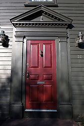 Red colonial door, Newport, Rhode Island, United States of America