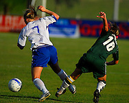 5 JUNE 2010 -- FENTON, Mo. -- Liberty High School's Kaysie Clark (7) battles Pattonville High School's Samantha Callahan (18) during the Class 3 championship game at the MSHSAA girls' soccer tournament Saturday, June 5, 2010 at the Anheuser-Busch Center in Fenton, Mo. Photo © copyright 2010 by Sid Hastings.