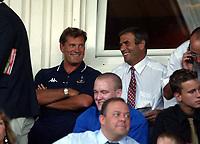 Photograph: Scott Heavey.<br />Stevenage Borough V Tottenham Hotspur. Pre-season friendly. 16/07/2003.<br />Glenn Hoddle enjoys a joke before kick off.