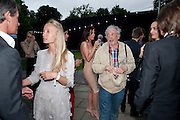 TIM JEFFERIES; MARTHA WARD; DAVID BAILEY, The Summer party 2011 co-hosted by Burberry. The Summer pavilion designed by Peter Zumthor. Serpentine Gallery. Kensington Gardens. London. 28 June 2011. <br /> <br />  , -DO NOT ARCHIVE-&copy; Copyright Photograph by Dafydd Jones. 248 Clapham Rd. London SW9 0PZ. Tel 0207 820 0771. www.dafjones.com.