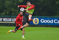 CARDIFF, WALES - Saturday, September 3, 2016: Wales' Sam Vokes during a training session at the Vale Resort ahead of the 2018 FIFA World Cup Qualifying Group D match against Moldova. (Pic by David Rawcliffe/Propaganda)
