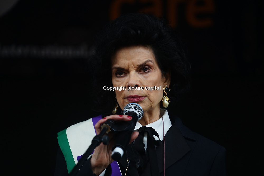 London, UK. 4th March 2018. Bianca Jagger is a human rights advocate and a former actress join Women's Day march 2018 marks 100 years since (some) women in the UK were legally allowed to vote. One hundred years on women still marching for equality demand 50/50 women in  Paliament calling for an end sexual harassment, violence and rape.