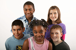Multiracial group of teenage boys and girls,