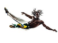 one Brazilian black man jumping dancing capoeira dancer on white background