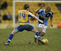 Photo: Aidan Ellis.<br /> Mansfield Town v Wycombe Wanderers. Coca Cola League 2. 24/02/2007.<br /> Wycombe's Lionel Ainsworth (R) goes past Mansfield's Bryan Hodge