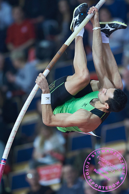Konstadinos Filippidis from Greece competes in men's pole vault competition during athletics meeting Pedro's Cup at Atlas Arena in Lodz, Poland.<br /> <br /> Poland, Lodz, February 17, 2015<br /> <br /> Picture also available in RAW (NEF) or TIFF format on special request.<br /> <br /> For editorial use only. Any commercial or promotional use requires permission.<br /> <br /> Adam Nurkiewicz declares that he has no rights to the image of people at the photographs of his authorship.<br /> <br /> Mandatory credit:<br /> Photo by &copy; Adam Nurkiewicz / Mediasport