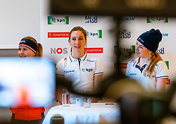 Yara van Kerkhof, Suzanne Schulting and Lara van Ruijven during the press conference for ISU World Cup Finals Shorttrack 2020 on February 12, 2020 in Museum Dordrecht.