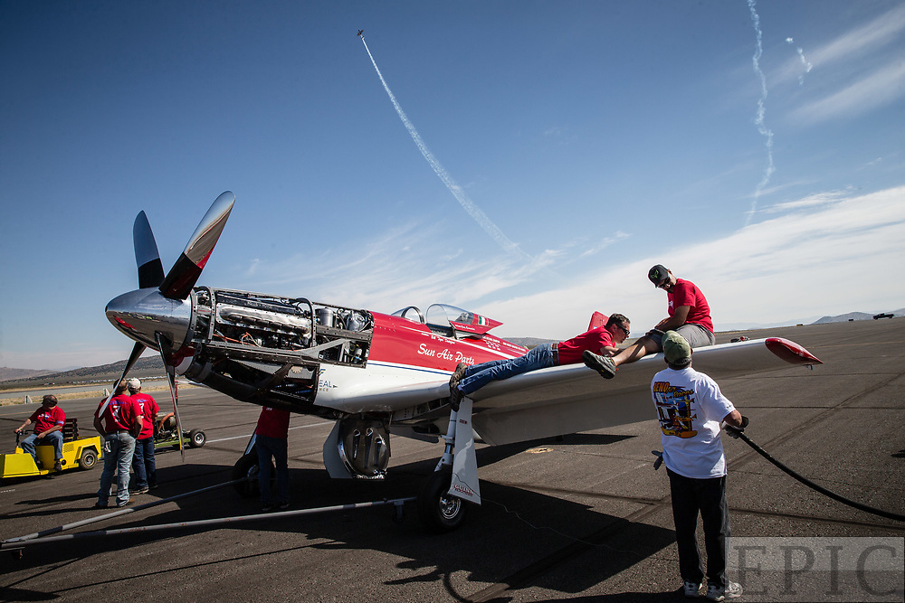 RENO, NV - SEPTEMBER 17: Unlimited gold class winning plane Strega gets fueled up before the final race at the Reno Championship Air Races on September 17, 2017 in Reno, Nevada. (Photo by Jonathan Devich/Getty Images) *** Local Caption ***