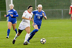 NORMAL, IL - October 17:  Kiley Czerwinski & Alise Emser during an NCAA Missouri Valley Conference (MVC)  women's soccer match between the Indiana State Sycamores and the Illinois State Redbirds October 17 2018 on Adelaide Street Field in Normal IL (Photo by Alan Look)
