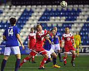 Brstol Academy's Sophie Ingle and Everton Ladies Dani Young during the Women's FA Cup fourth round match between Everton Ladies and Bristol Academy ladies at the Select Securities Stadium, Widnes, United Kingdom on 24 March 2015. Photo by Andrew Morfett.