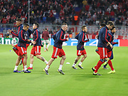 Bayern Munich players warms up during the Champions League round of 16, leg 2 of 2 match between Bayern Munich and Liverpool at the Allianz Arena stadium, Munich, Germany on 13 March 2019.