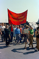 GEC AEI Joint Shop Stewards Committee banner at the start of a march against anti trade union legislation. Sheffield 1980.