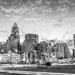 Charlotte skyline and Romare Bearden Park black and white panorama photo. Charlotte, North Carolina is a major city in the Eastern United States of America. Panoramic photo ratio is 1:3.
