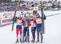 01.03.2019, Seefeld, AUT, FIS Weltmeisterschaften Ski Nordisch, Seefeld 2019, Langlauf, Herren, 4x10 km Staffel, im Bild v.l. Johannes Hoesflot Klaebo (NOR), Sjur Roethe (NOR), Martin Johnsrud Sundby (NOR), Emil Iversen (NOR) // f.l. Johannes Hoesflot Klaebo Sjur Roethe Martin Johnsrud Sundby and Emil Iversen of Norway during the men's cross country 4x10 km relay competition of FIS Nordic Ski World Championships 2019. Seefeld, Austria on 2019/03/01. EXPA Pictures © 2019, PhotoCredit: EXPA/ Stefan Adelsberger