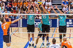 04-06-2016 NED: Nederland - Duitsland, Doetinchem<br /> Nederland speelt de tweede oefenwedstrijd in Doetinchem en verslaat Duitsland opnieuw met 3-1 / Sebastian Kühner #5, Marcus Bohme #8, David Sossenheimer #17