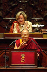 BRUSSELS, BELGIUM - JUNE-01-2006 - The Dalai Lama meets with Anne-Marie Lizin , President of the Belgian Senate and addresses members of the Belgian Parliament. (PHOTO © JOCK FISTICK)