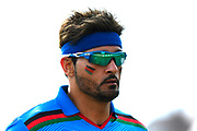 Hamid Hassan of Afghanistan with the Afghanistan flag painted on his cheeks during the ICC Cricket World Cup 2019 match between Afghanistan and Australia at the Bristol County Ground, Bristol, United Kingdom on 1 June 2019.